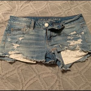 American eagle cropped denim shorts